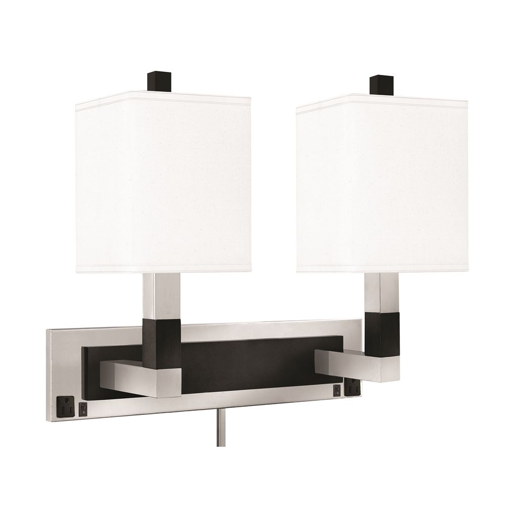 "Double Light Wall Lamp, 19""H, 5"" x 22"" Back Plate, 2 Outlets, Brushed Steel w/ Black Ebony Finish"