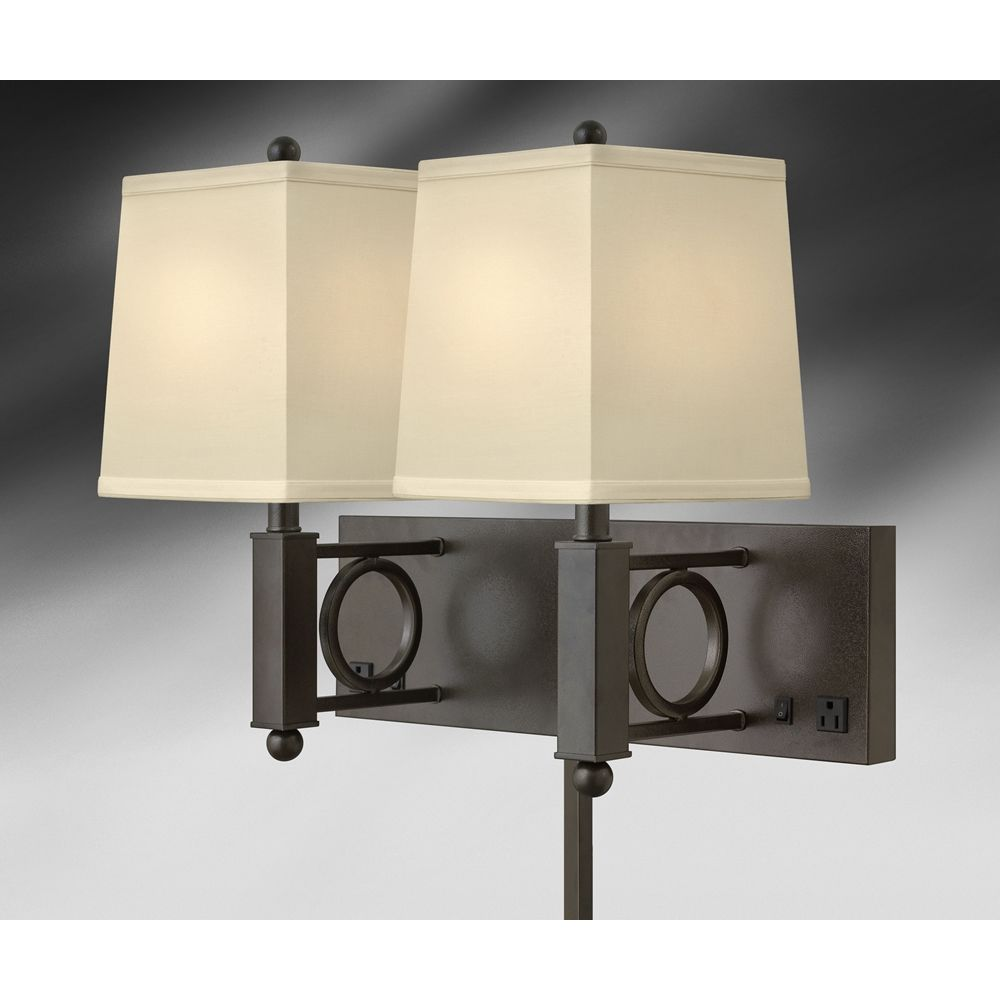 "Double Wall Lamp, 18"" H, 7"" x 22"" Backplate, 2 Outlets, Hammertone Bronze"