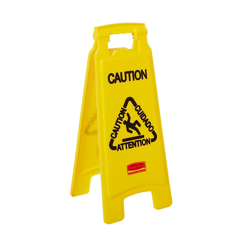 "Rubbermaid® Floor Sign ""Caution"", 2-Sided, Multi-Lingual, Yellow"