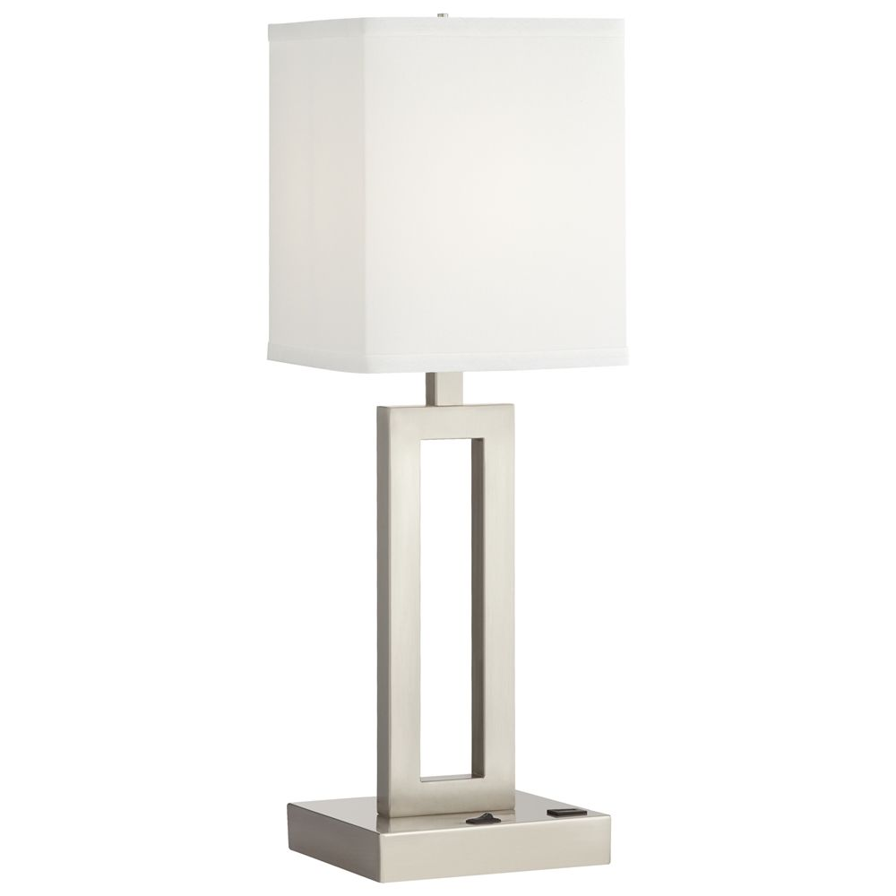 "Desk Lamp, 24""H, 1 Outlet, 2 USBs, Brushed Nickel w/ White Shantung Linen Shade"