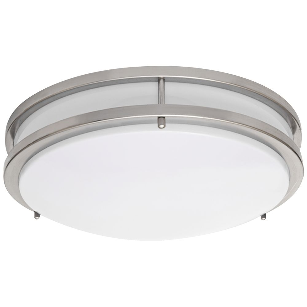 Ceiling Fixture, Hardwired, Brushed Nickel w/ White Frosted Acrylic