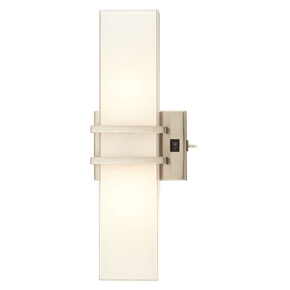 Headboard / Wall Mounted Sconce, Brushed Nickel w/ Frosted Glossy Glass