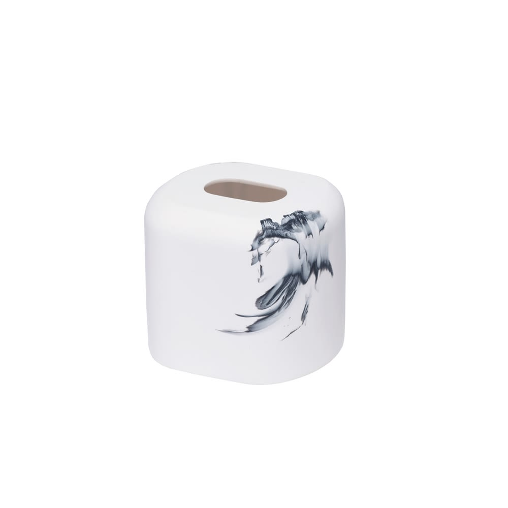 Dao Collection Matte Resin Boutique Tissue Box Cover, White with Splash Finish
