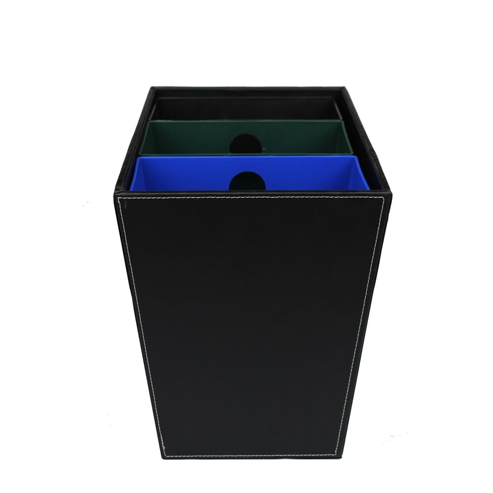 3-Chamber, 22.5 Quart, Recycle/Wastebasket, Black