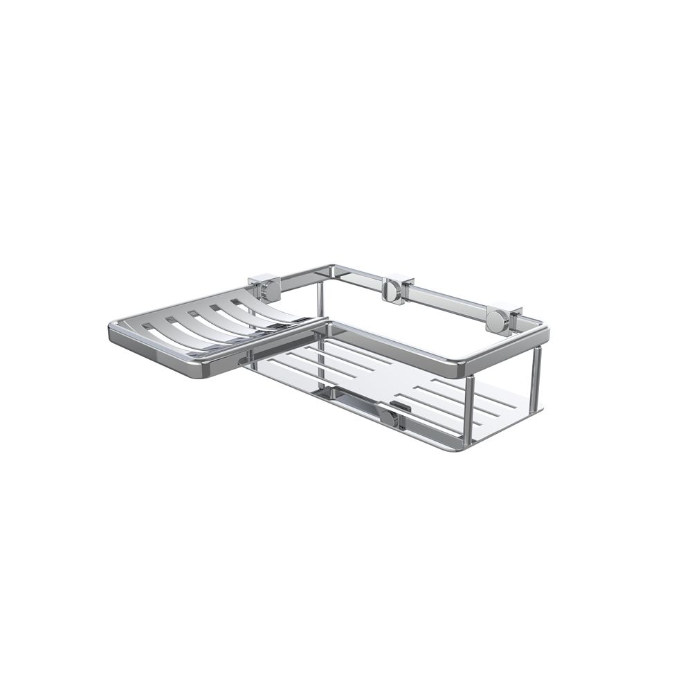"WINGITS® CONTOUR 8"" Bi-Level Corner Basket, Stainless Steel, Polished Finish"