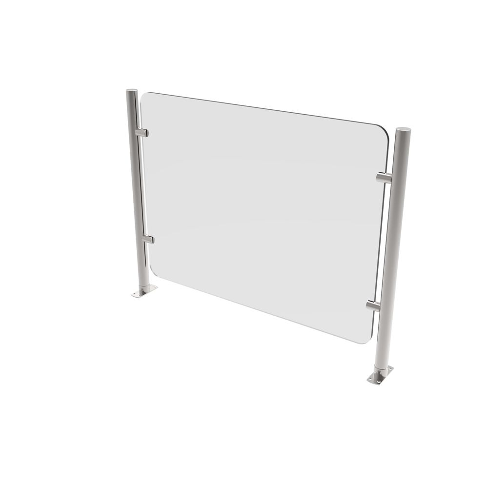 Mounted Plexiglass & Stainless Steel Safety Barrier, 36 in x 27 in