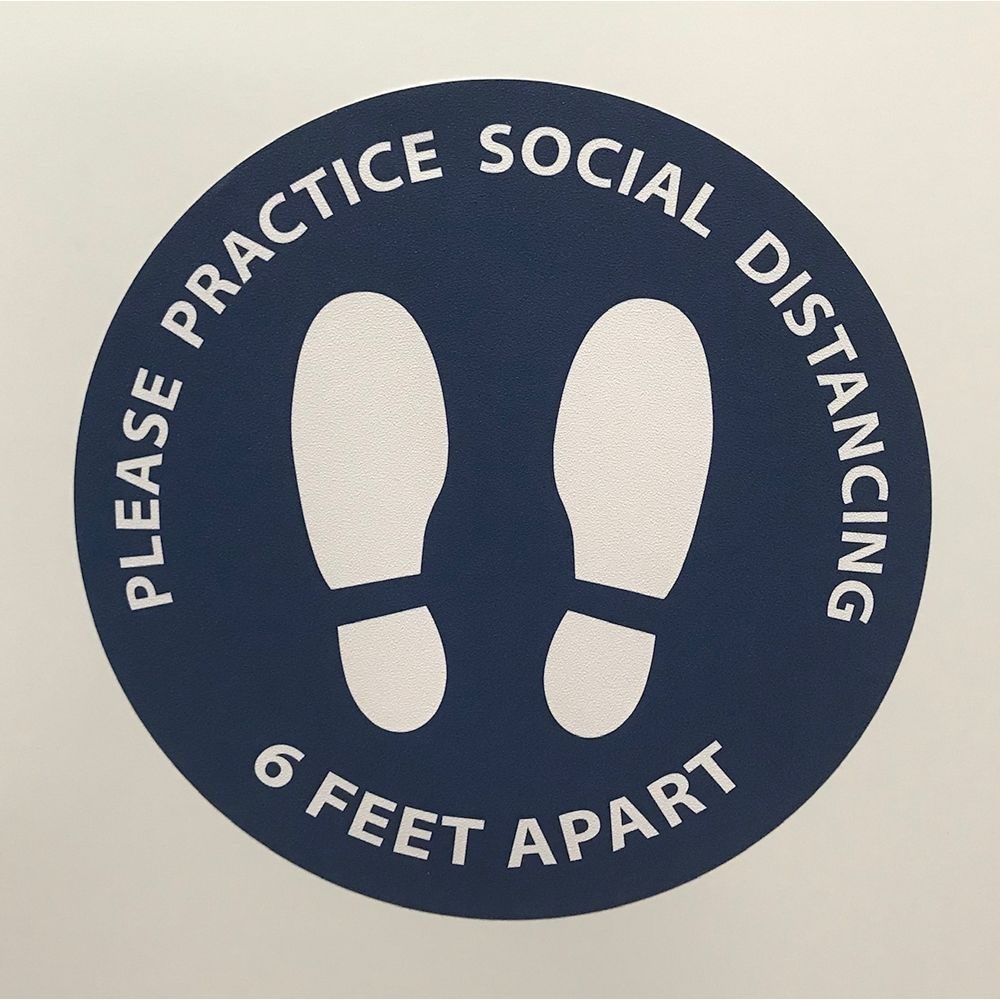 6 Feet Apart Circle Floor Sticker, 15 in Diameter, Blue