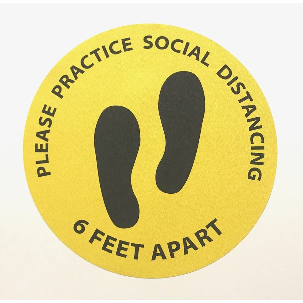 6 Feet Apart Circle Floor Sticker, 15 in Diameter, Yellow