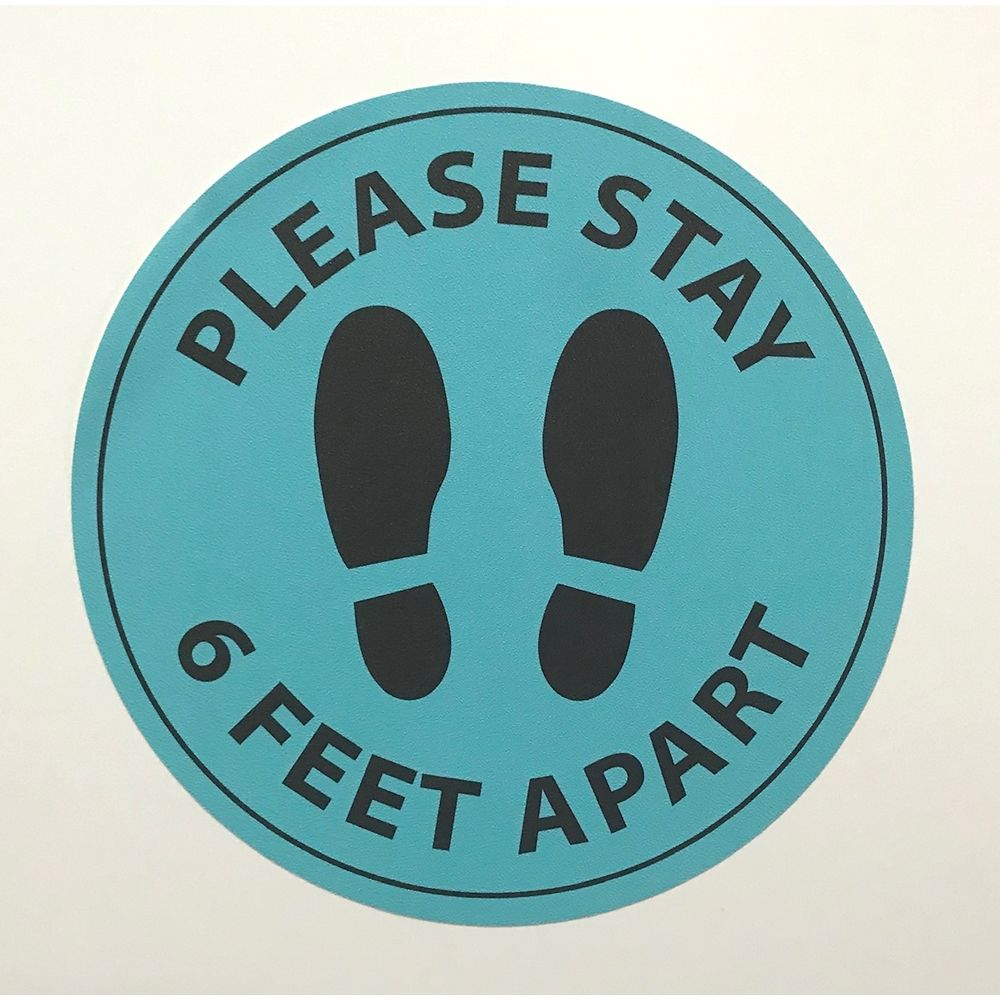 6 Feet Apart Circle Floor Sticker, 15 in Diameter, Light Blue & Black
