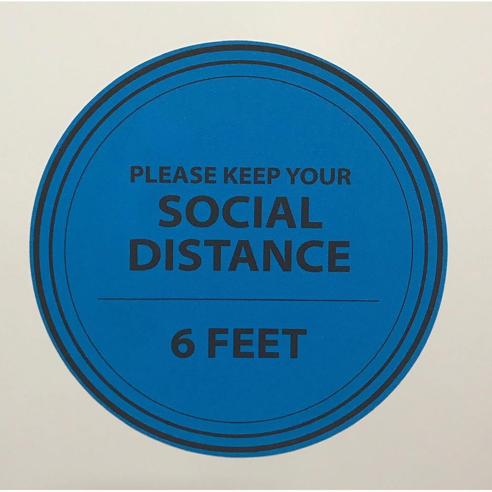 6 Feet Apart Circle Floor Sticker, 15 in Diameter, Blue & Black