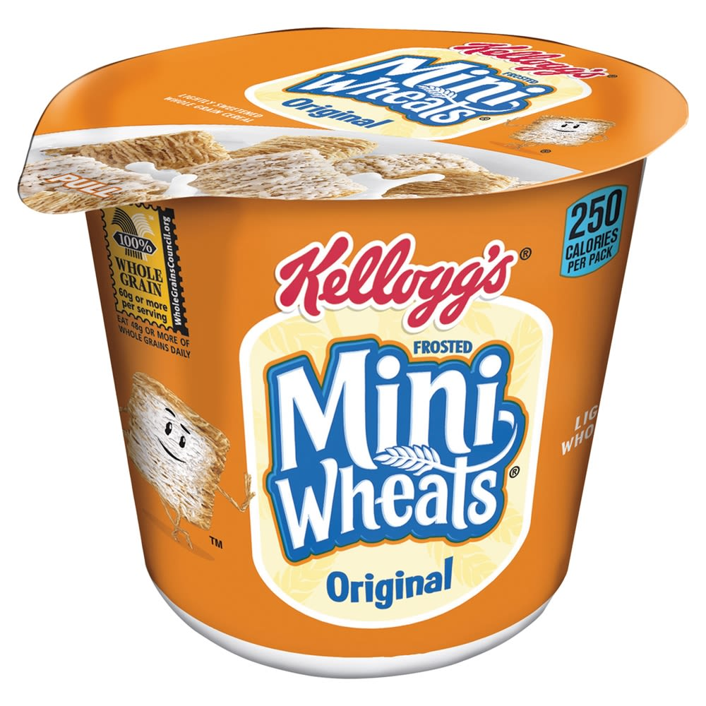 Kellogg's Frosted Mini Wheats Cereal 2.5 oz Cups, 6/Box