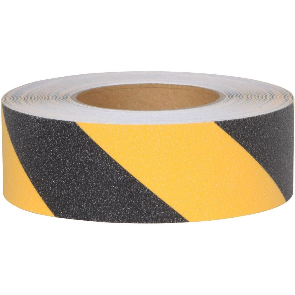 Anti-Slip Grit Tape Rolls, 2 in W x 60 ft Long, Black and Yellow
