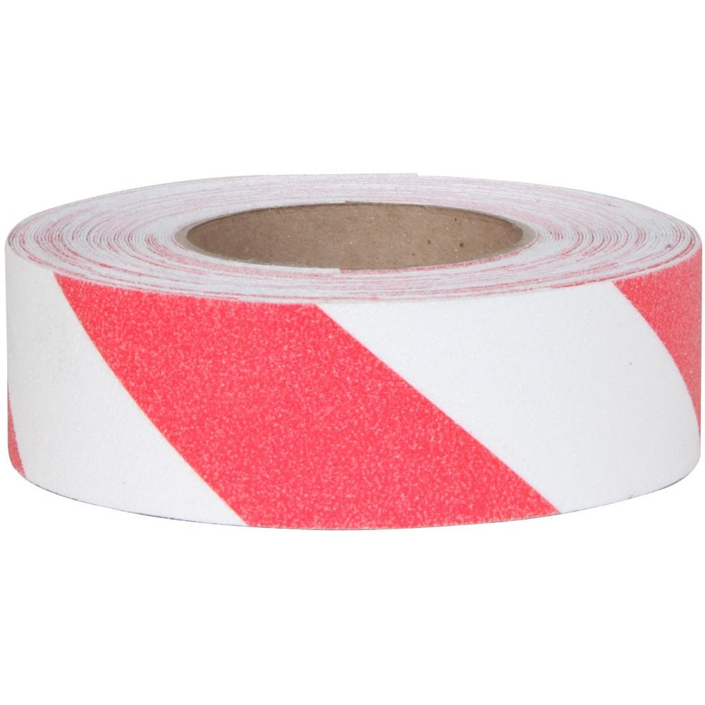 Anti-Slip Grit Tape Rolls, 2 in W x 60 ft Long, Red and White