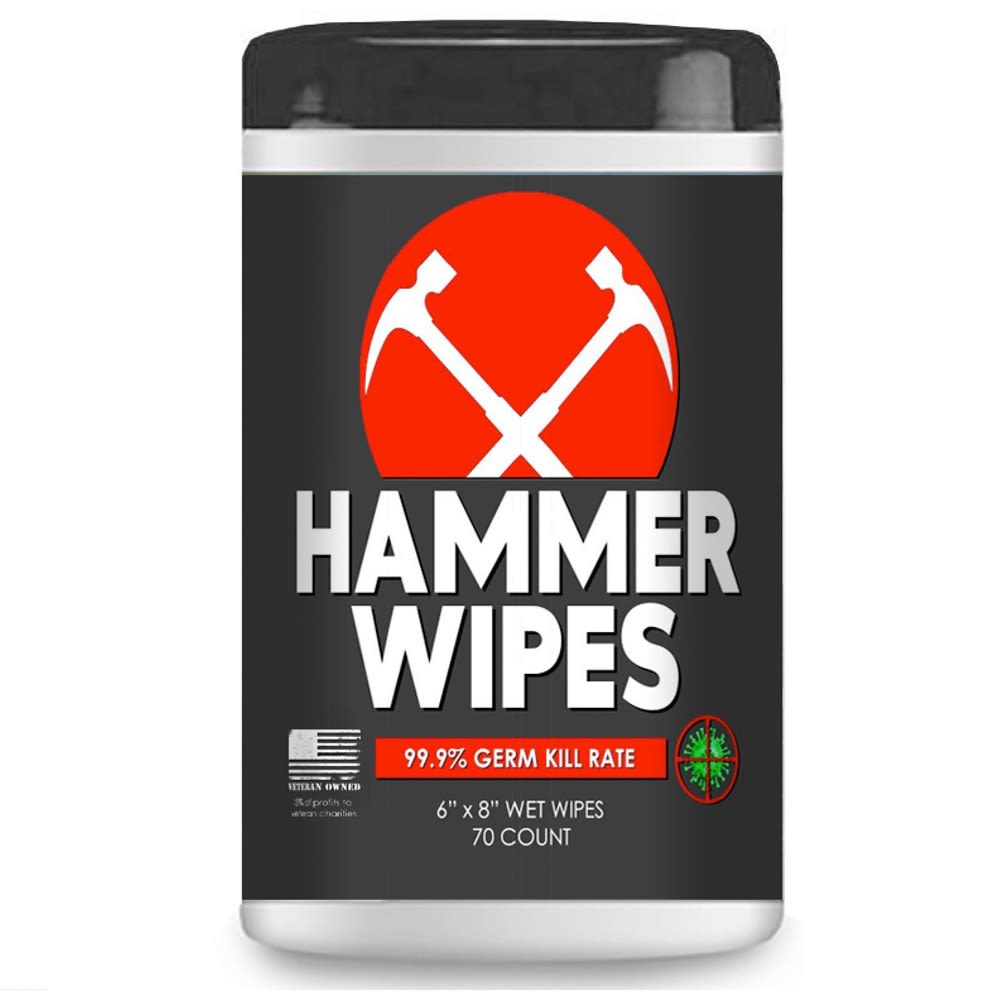 Antibacterial Hammer Wipes, 70 Wipes/Carton
