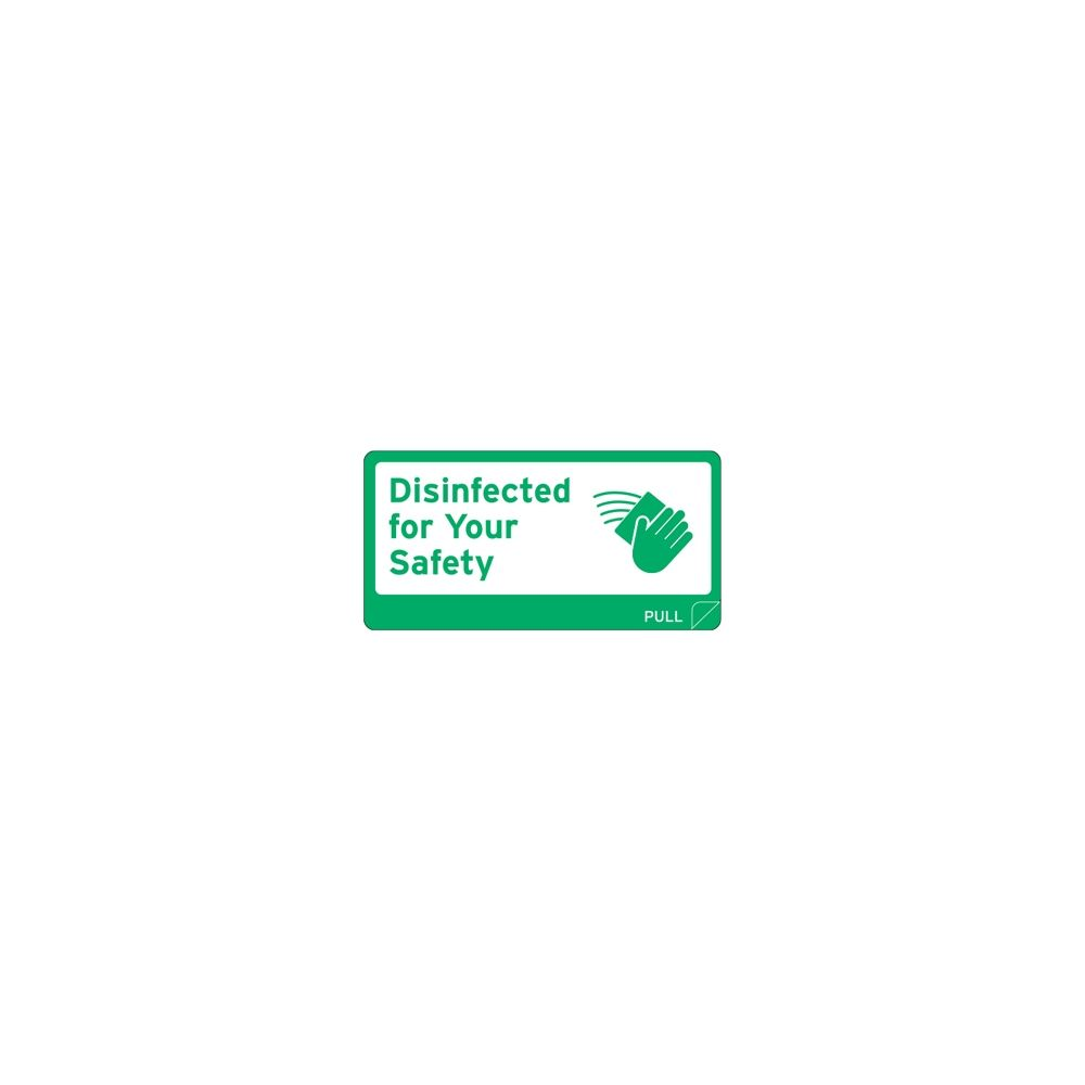 Ecolab® Disinfected Surface Decal, Green & White, Waterproof, 500 Stickers per Roll, 2 in x 4 in