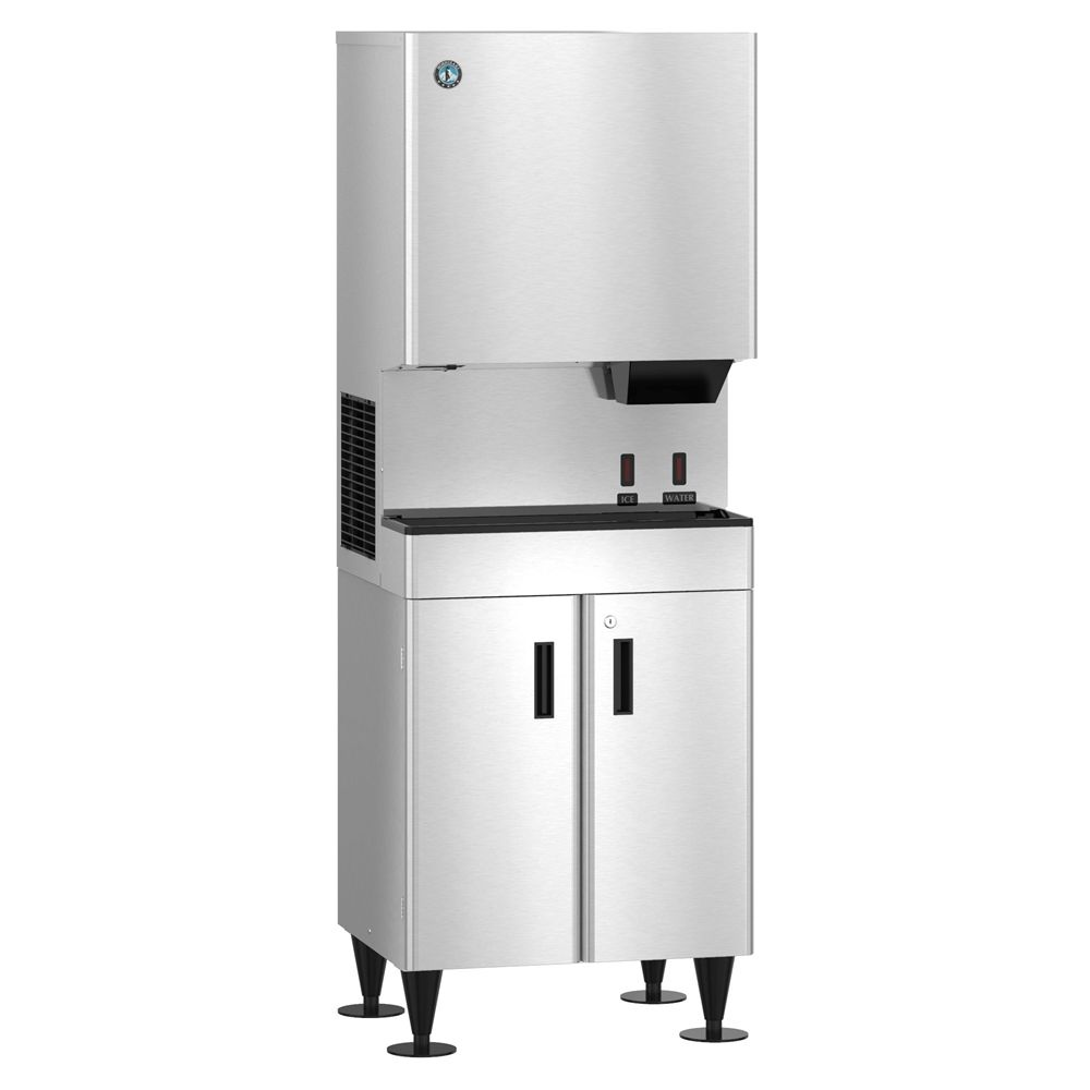 Hoshizaki Hands-Free Automatic Standing Ice & Water Machine, 26 in W, Stainless Steel & Black