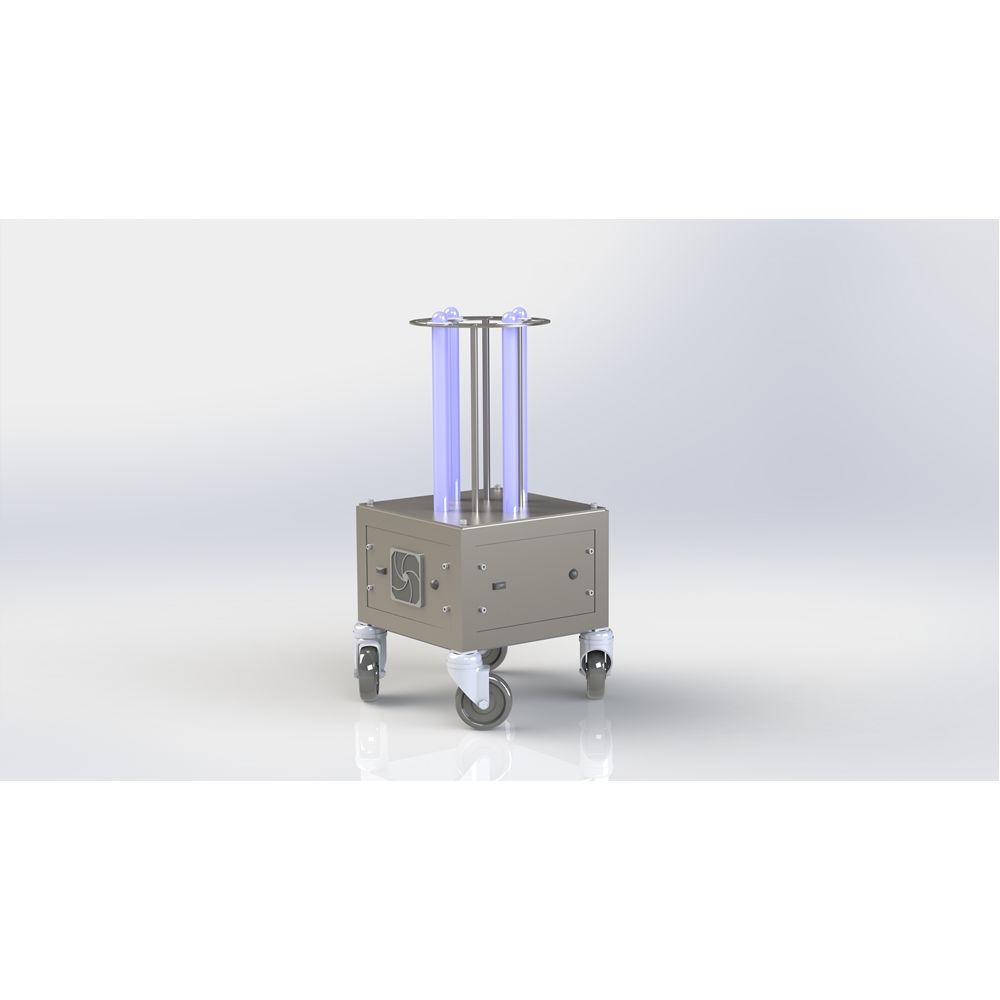 AURA 4 Lamp UV-C Light Mobile Disinfection Station, Coverage of 100 sq ft. Space in 15 Minutes