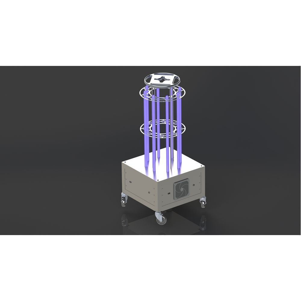 AURA 8 Lamp UV-C Light Mobile Disinfection Station, Coverage of 400 sq ft Space in 15 Minutes