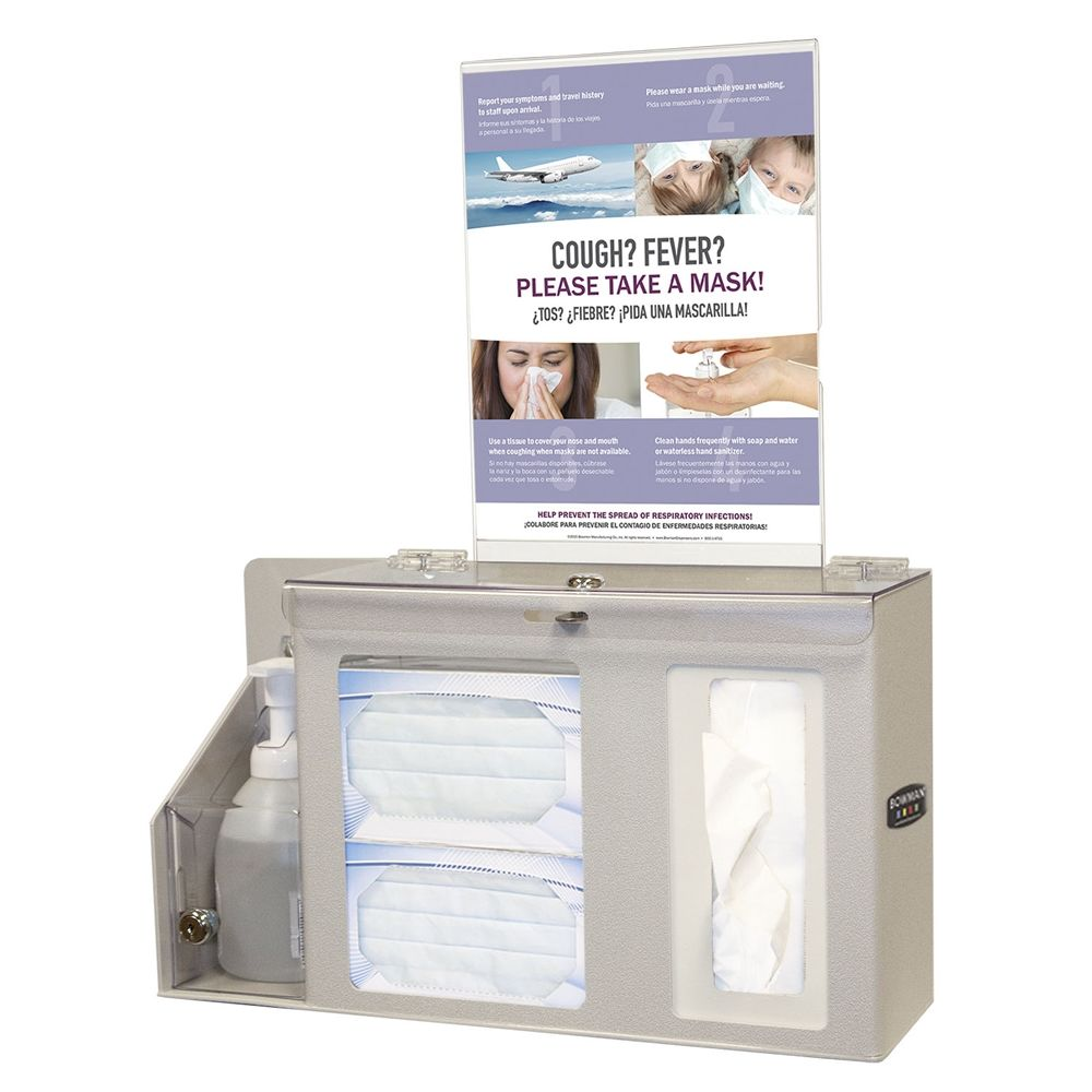 Bowman® Cover Your Cough Compliance Kit Respiratory Hygiene Station - For Hand Sanitizer Bottle, BGE
