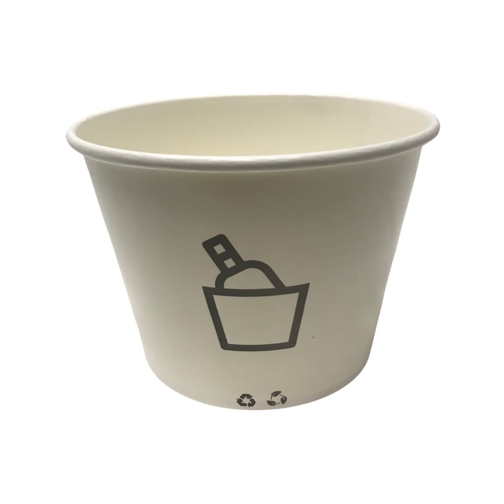 Disposable 2.6 Quart Paper Ice Bucket, White with Gray design