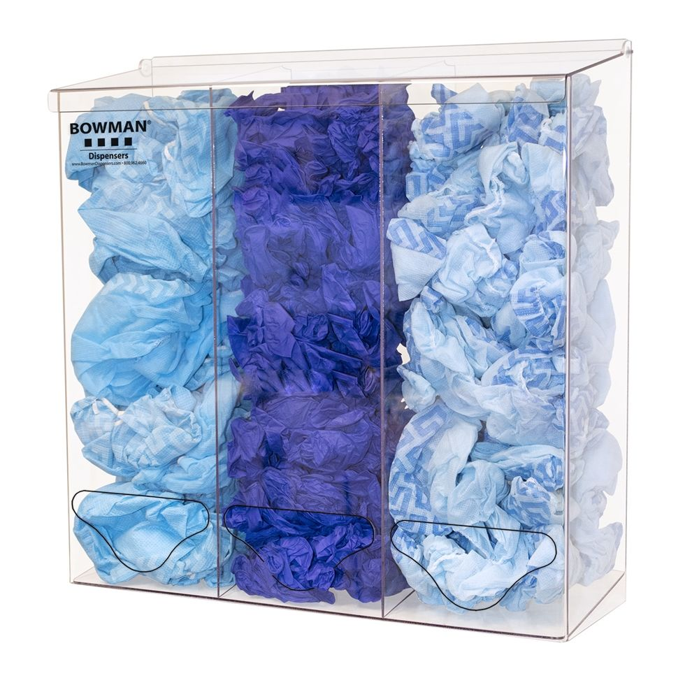 Bowman® Bulk Dispenser Triple Tall, Openings at Front and Bottom, Clear PETG Plastic