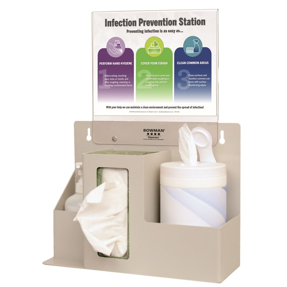 Bowman® Infection Prevention System, Quartz Beige ABS Plastic and Clear PETG Sign Holder