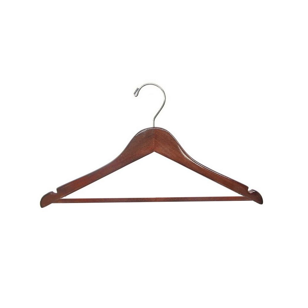 Men's Hanger, Flat Open Hook with Dowel Bar, Walnut with Chrome Hook
