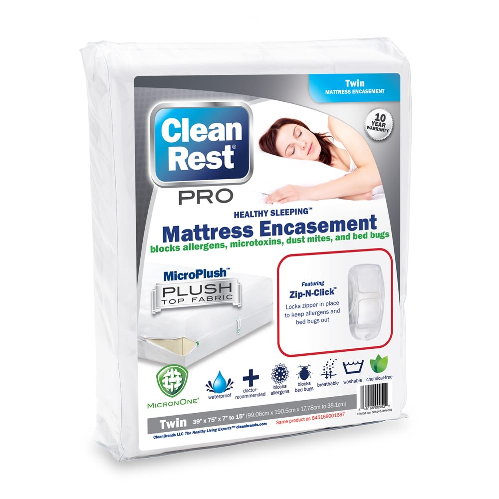 CleanRest PRO Mattress Encasement, 100% Polyester, Twin, White