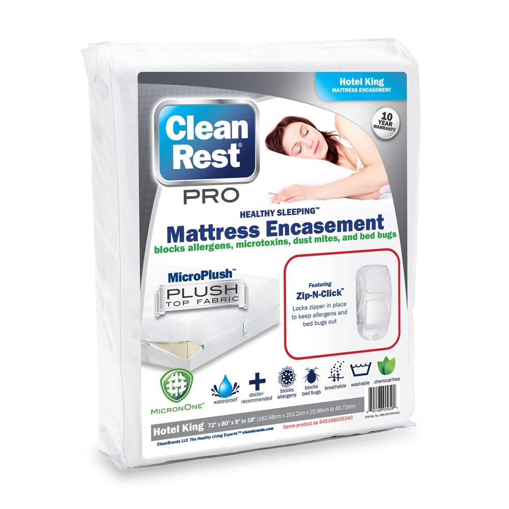 CleanRest PRO Mattress Encasement, 100% Polyester, Hotel King, White