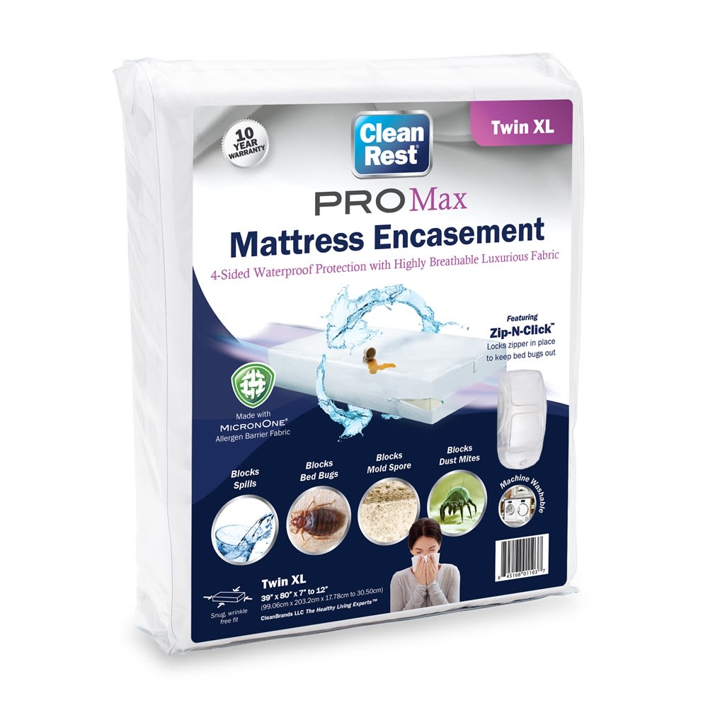 CleanRest PRO Max Mattress Encasement, 100% Polyester, Twin XL, White