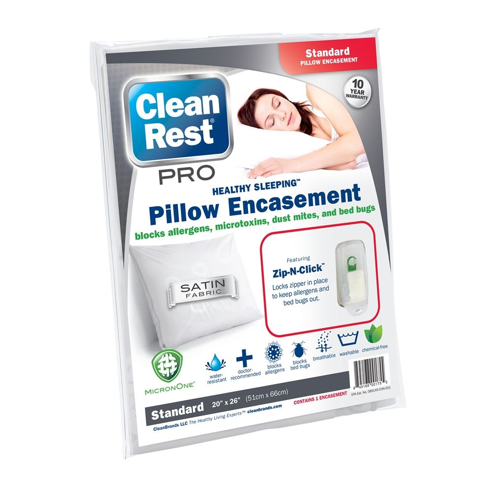 CleanRest PRO Pillow Encasement, 100% Polyester, Standard, White
