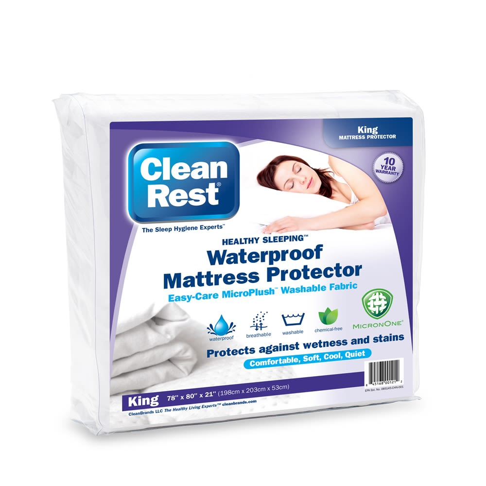 CleanRest Fitted Mattress Protector, 100% Polyester, King, White