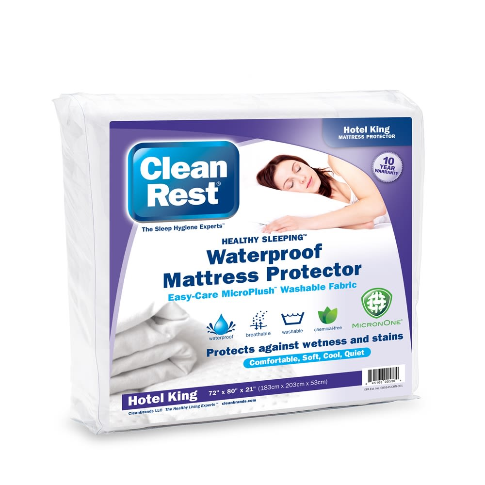 CleanRest Fitted Mattress Protector, 100% Polyester, Hotel King, White