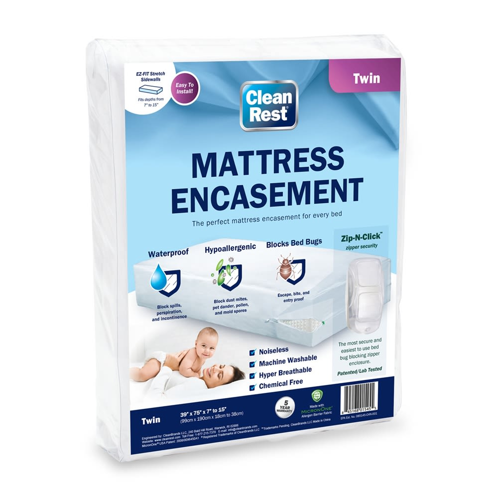 CleanRest Mattress Encasement, 100% Polyester, Twin, White