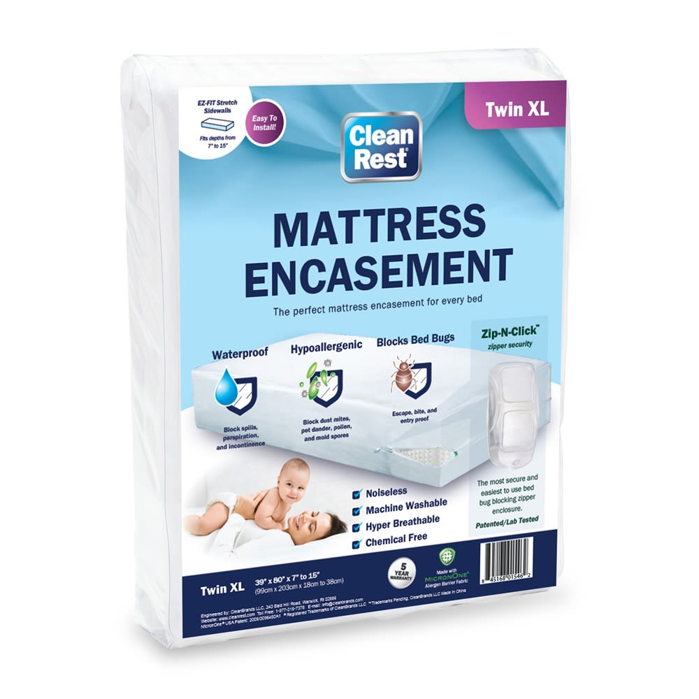 CleanRest Mattress Encasement, 100% Polyester, Twin XL,White