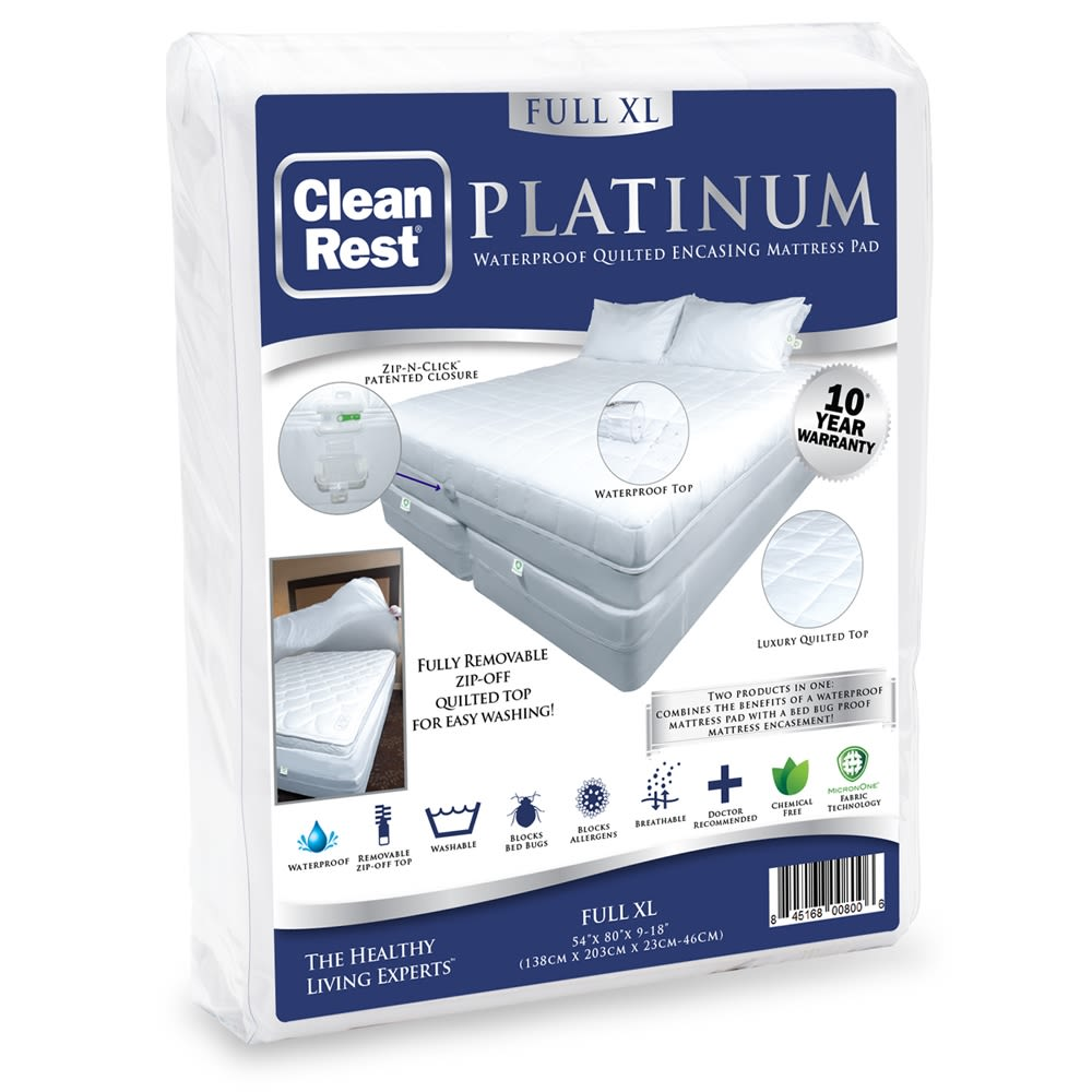 CleanRest Platinum Encasing Mattress Pad, 100% Polyester, Full XL, White