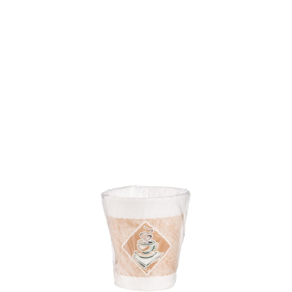 Dart Foam Hot/Cold Cups, 8 oz., Cafe G Design, White/Brown with Green Accents, Individually Wrapped