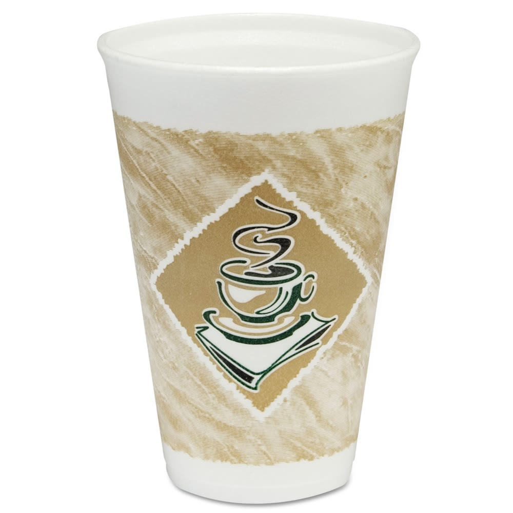 Dart Cafe G Foam Hot/Cold Cups, 16oz, White with Brown and Green
