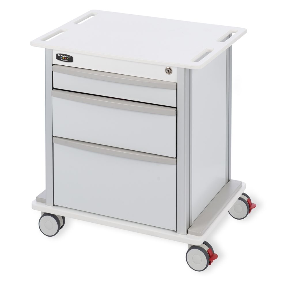 Bowman® Compact Undercounter Storage Cart, 3 Drawers, White