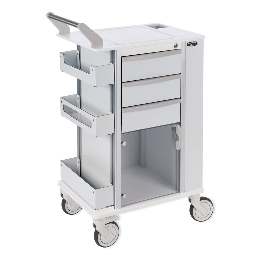 Bowman® Deluxe Rolling Storage Cart with 5 Inch Casters, White