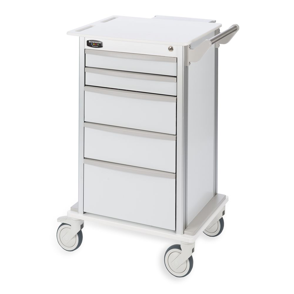 Bowman® Wheeled 5-Drawer Storage Cart with 5 Inch Casters, White