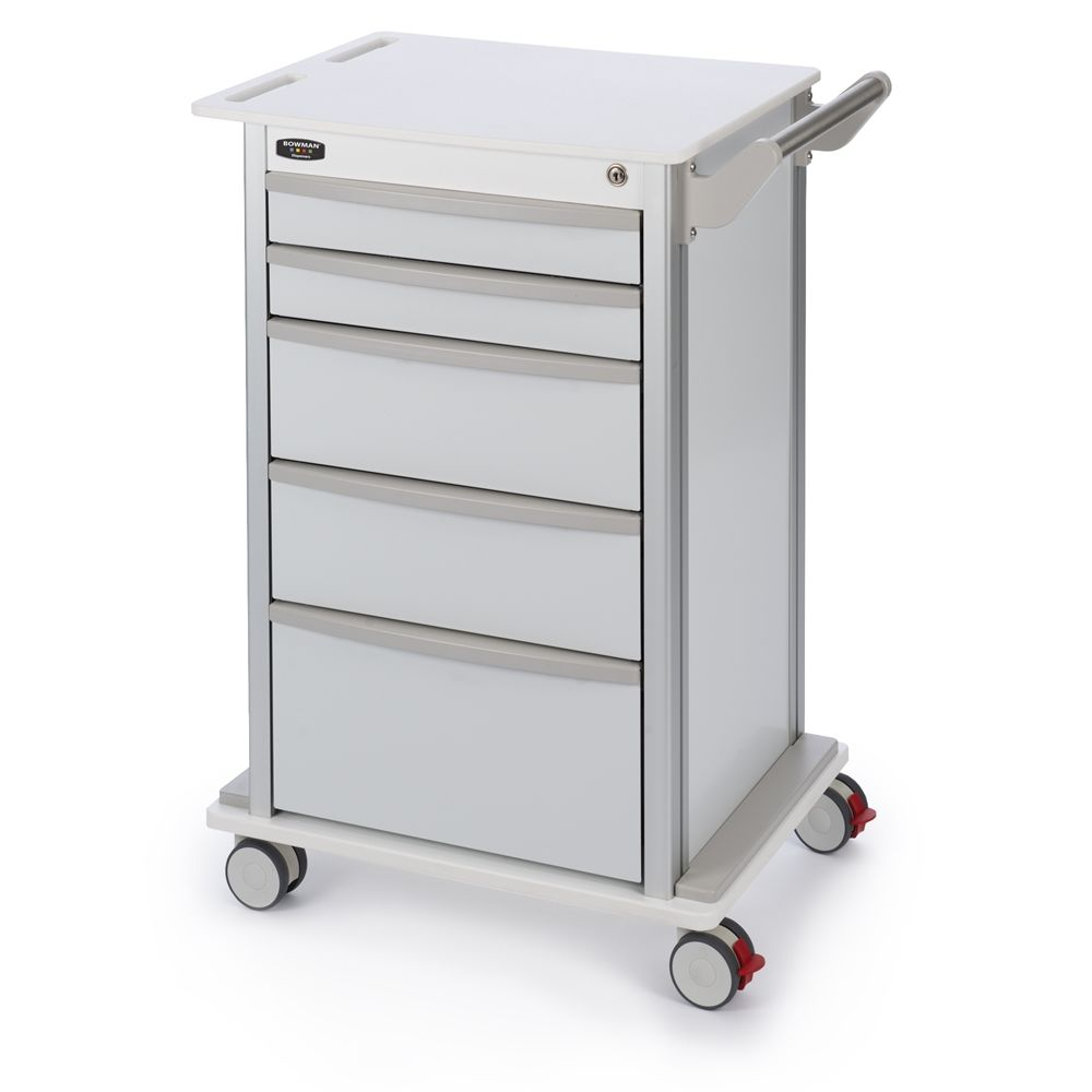 Bowman® Wheeled 5-Drawer Storage Cart with 3 Inch Casters, White
