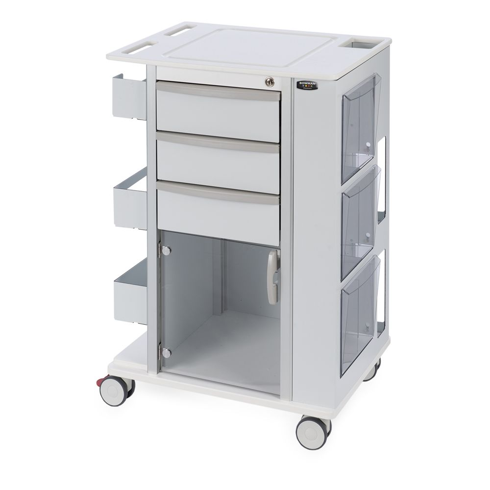 Bowman® Rolling Storage Cart with 3 inch Casters, White