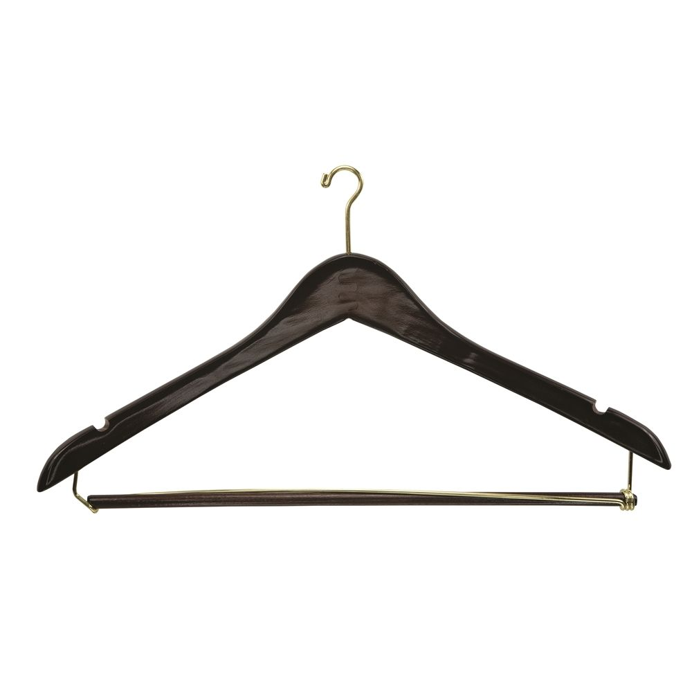 Men's Hanger, Mini Hook Contour with Locking Bar, Walnut with Brass Hook