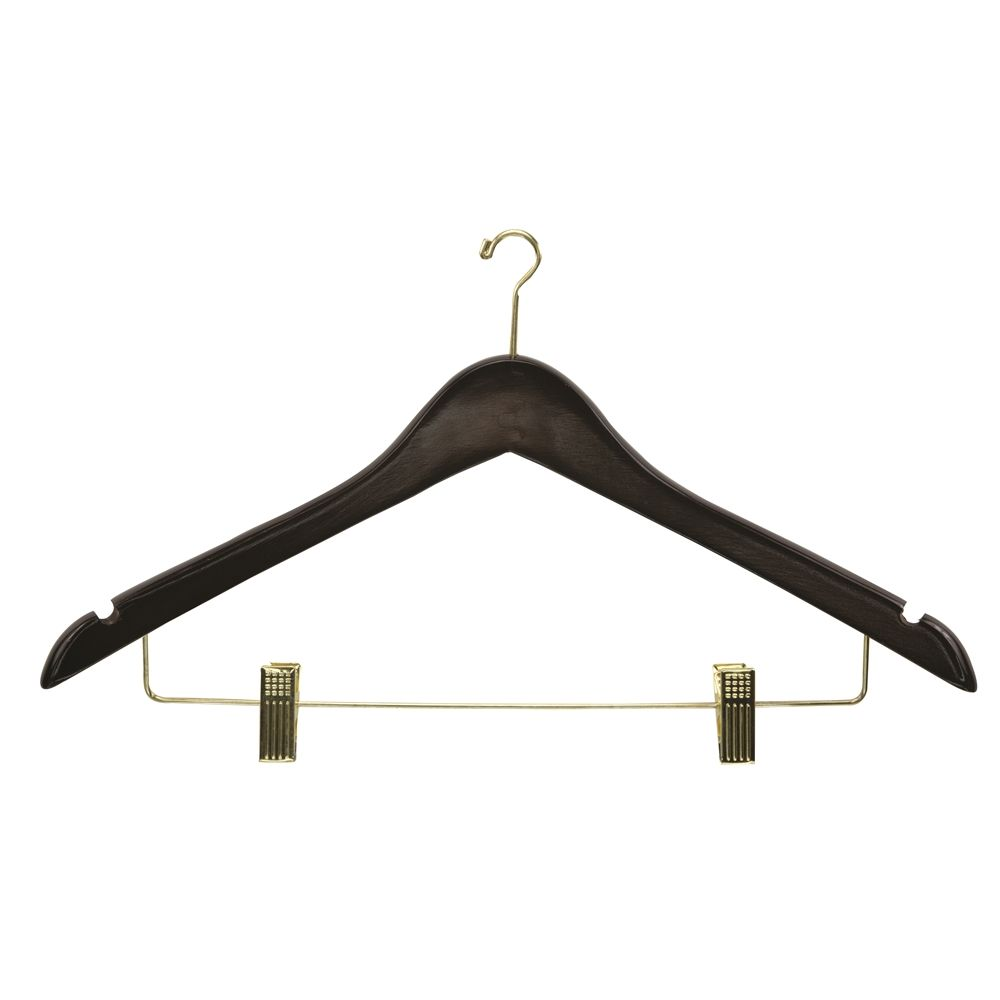 Women's Hanger, Mini Hook Contour with Clips, Walnut with Brass Hook & Clips