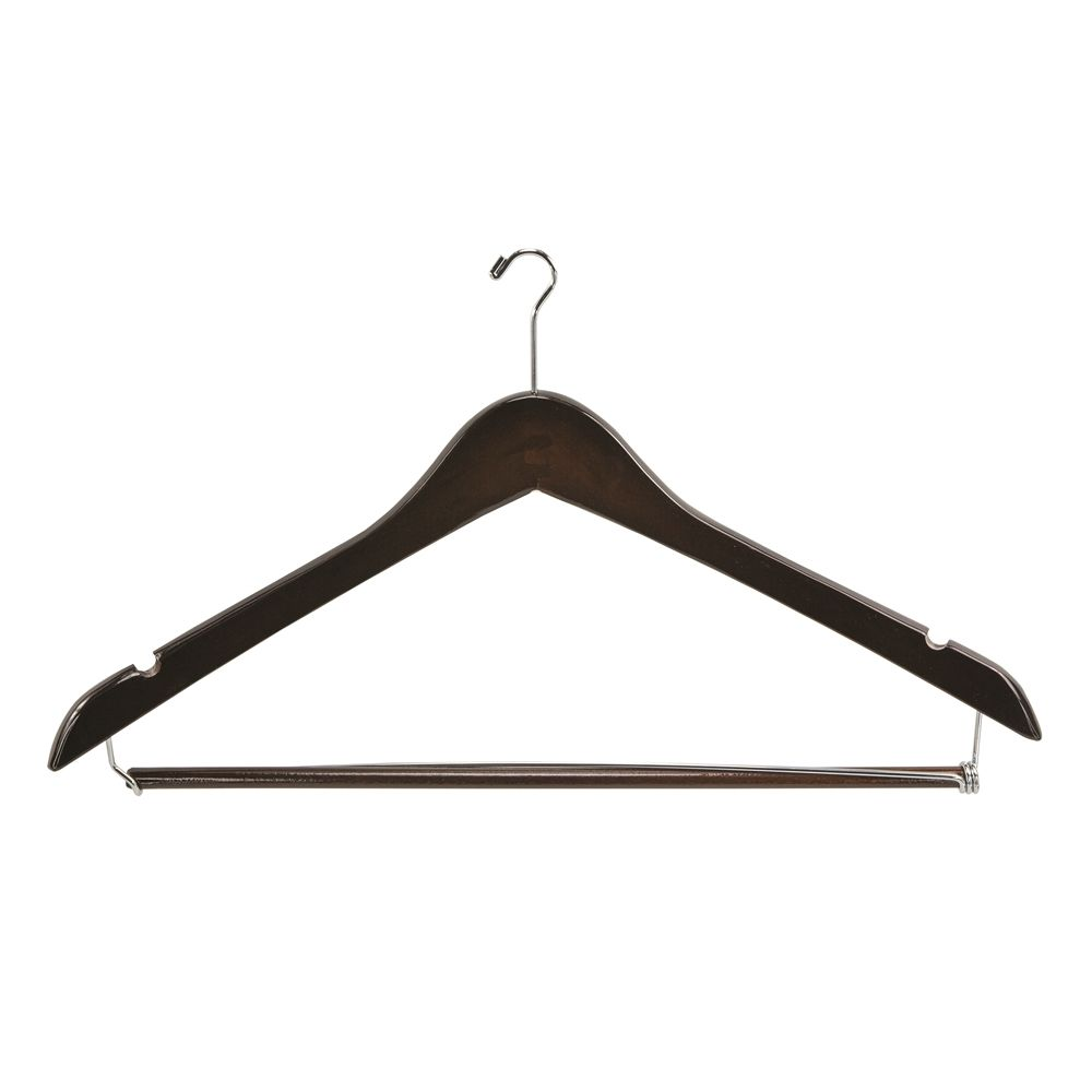 Men's Hanger, Mini Hook Contour with Locking Bar, Walnut with Nickel Hook