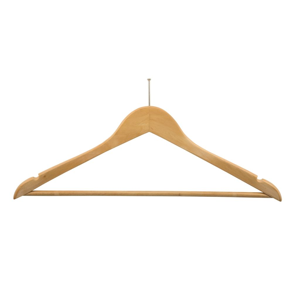 Men's Hanger, Flat Ball Top with Dowel Bar, Natural with Nickel Hook