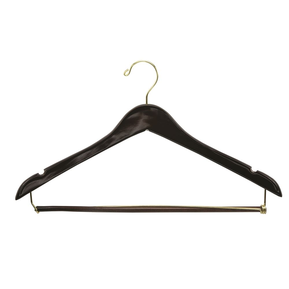 Men's Hanger, Open Hook Contour with Locking Bar, Walnut with Brass Hook