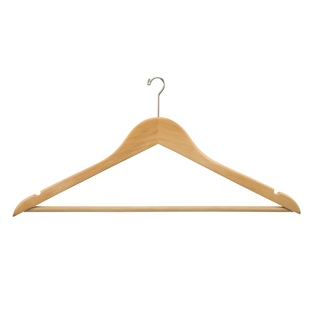 Men's Hanger, Flat Mini Hook with Dowel Bar, Natural with Nickel Hook