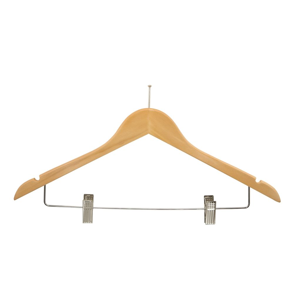 Women's Hanger, Flat Ball Top with Clips, Natural with Nickel Hook & Clips